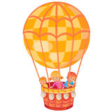 Little kids fly on the big air balloon. Vector illustration of little kids fly on the big air balloon Royalty Free Stock Photography