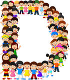 Little kids form alphabet D stock illustration
