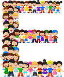 Little kids form alphabet E. Illustration of Little kids form alphabet E Stock Images