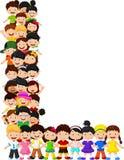 Little kids form alphabet L vector illustration