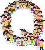 Little kids form alphabet Q royalty free illustration