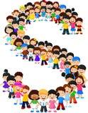 Little kids form alphabet S stock illustration