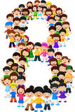 Little kids form number eight. Illustration of Little kids form number eight royalty free illustration