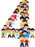 Little kids form number four. Illustration of Little kids form number four Stock Photos