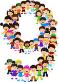 Little kids form number nine Stock Photo