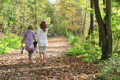 Little kids - girls walking barefoot. Little barefooted kids - girls walking on a path covered with dry leaves with shoes holded in hands stock photo
