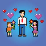 Little kids gives daddy flowers - pixel art style vector Stock Photos