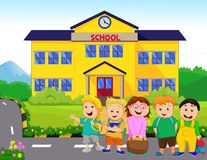 Little kids are going to school vector illustration