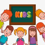 Little kids group in classroom avatars characters. Vector illustration design Stock Images