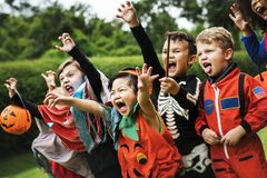 Little kids at a Halloween party royalty free stock photos