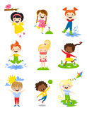 Little kids happy spring playing, watering flowers, jumping in puddle, carries bouquet, running, sun happy, launching Royalty Free Stock Photos