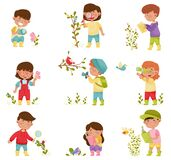 Little Kids Holding Magnifying Glass and Camera Exploring Nature Vector Illustrations Set