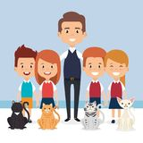 Little kids with pets characters. Vector illustration design Stock Image