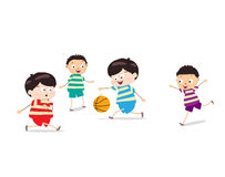 Little Kids Playing Basketball. Little Children happy playing illuttration Stock Photo