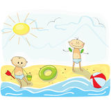 Little kids playing on the beach. Two little children playing on the beach Royalty Free Stock Image