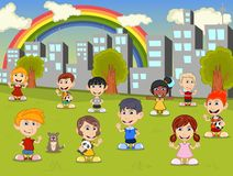 Little kids playing in the city park with rainbow cartoon Royalty Free Stock Image
