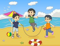 Little kids playing jump rope on the beach cartoon Royalty Free Stock Image