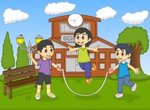 Little kids playing jump rope in front of their school cartoon Stock Photos