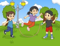 Little kids playing jump rope at the park cartoon Royalty Free Stock Photography