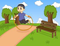Little kids playing jump rope at the park cartoon Stock Images