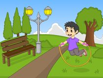 Little kids playing jump rope at the park cartoon vector illustration Stock Image