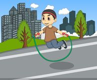 Little kids playing jump rope on the street cartoon Stock Image