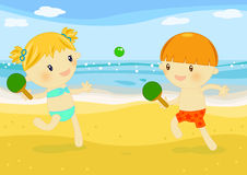 Little kids playing rackets on the beach. Illustration about 2 little kids playing rackets on the beach at seaside Stock Image