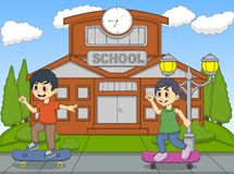 Little kids playing skate board in front of their school cartoon Royalty Free Stock Image