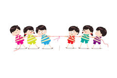 Little Kids playing Tug of War. Little Children happy playing illuttration vector illustration