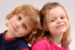 Little kids posing Stock Image