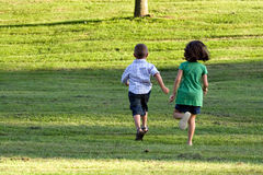 Little Kids Running Stock Photo