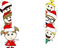 Little kids with santa claus hat and blank board Royalty Free Stock Photo