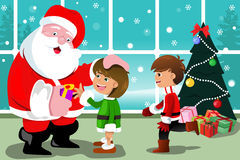 Little kids with Santa Claus Royalty Free Stock Images