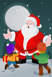 Little kids with Santa Claus Stock Photos
