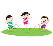 Little Kids skipping. Little Children happy playing illuttration royalty free illustration