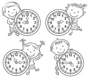 Little kids telling time set. Black and white outline Stock Images