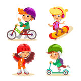 Little kids with various summer activities. Royalty Free Stock Images