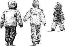Little kids on a walk Stock Photo