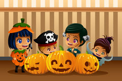 Little Kids Wearing Halloween Costumes. A vector illustration of little kids wearing Halloween costumes Royalty Free Stock Images