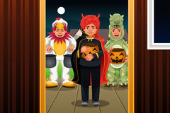 Little Kids Wearing Halloween Costumes Stock Images