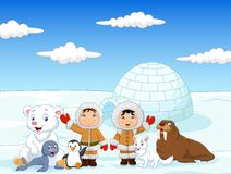 Little kids wearing traditional eskimo costume with arctic animals. Illustration of Little kids wearing traditional eskimo costume with arctic animals and igloo Stock Images