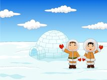 Little kids wearing traditional Eskimo costume with igloo house Stock Photos