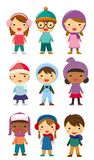Little kids wearing winter clothes Stock Photos