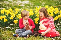 Free Little Kids With Chocolate Bunnies, Portrait Royalty Free Stock Image - 99783206