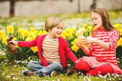 Free Little Kids With Chocolate Bunnies, Portrait Stock Photos - 99783313
