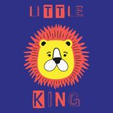 Little king slogan with lion face vector fashion illustration for kids print. Little king slogan with lion face vector fashion illustration for kids print Stock Photo