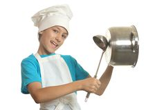 Little kitchen boy Royalty Free Stock Photography