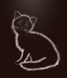 Little kitten black and white card, vector Stock Photography