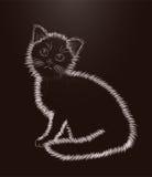 Little kitten black and white card, vector Stock Photos