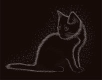 Little kitten, black and white card, vector Stock Images